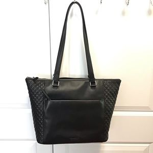 Large quilted leather carryall tote Black NEW
